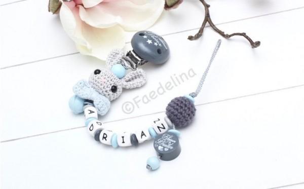 Schnullerkette Häkelperlen Hase Baby Junge grau/blau