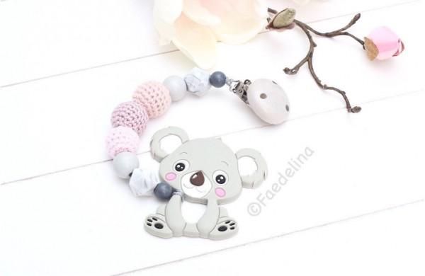 Beisskette Zahnungshilfe Koala Silikonperlen Baby Mädchen Geschenkidee grau/rosa
