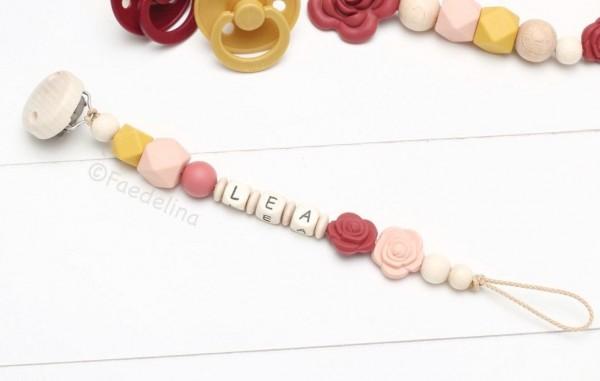 Schnullerkette mit Namen Rosen Rost/Apricot/Senfgelb Baby Mädchen Geschenkidee Taufe (ohne Deko)