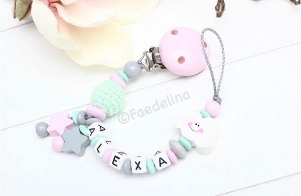Schnullerkette mit Namen Wolke rosa/mint Kunststoff Buchstaben Baby Mädchen