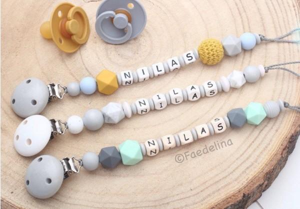 Schnullerkette mit Namen Holzbuchstaben Senfgelb/grau/blau Baby Junge Geschenkidee (Modellauswahl)