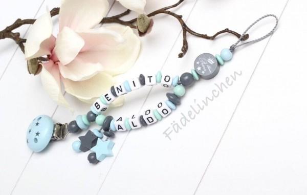 Schnullerkette mit Namen Doppelnamen Baby Junge blau/grau Sterne kleiner Prinz Geschenkidee