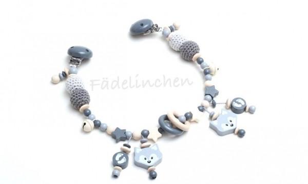 Wagenkette Fuchs Häkelperlen grau/natur baby