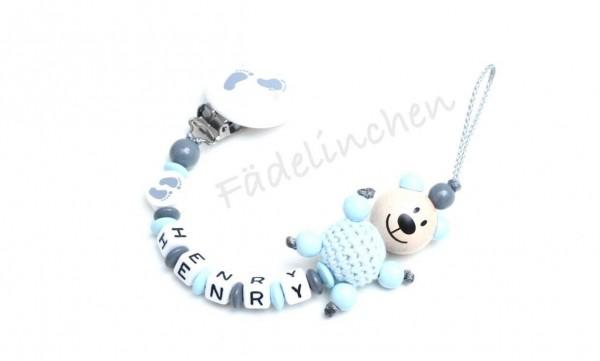 Schnullerkette mit Namen Füßchen 3D Bär blau/grau Bany Junge