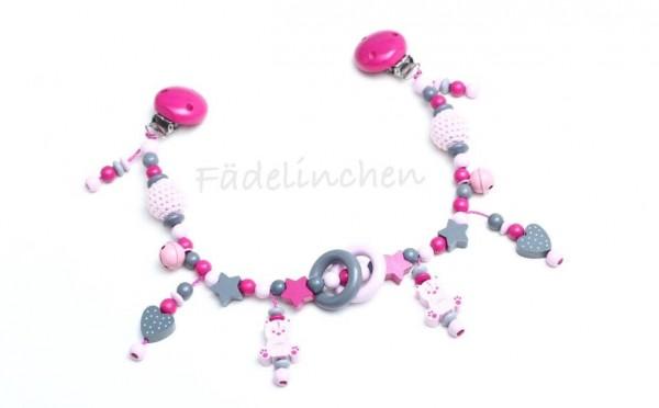 Wagenkette pink/rosa Häkelperlen Teddybär Mädchen
