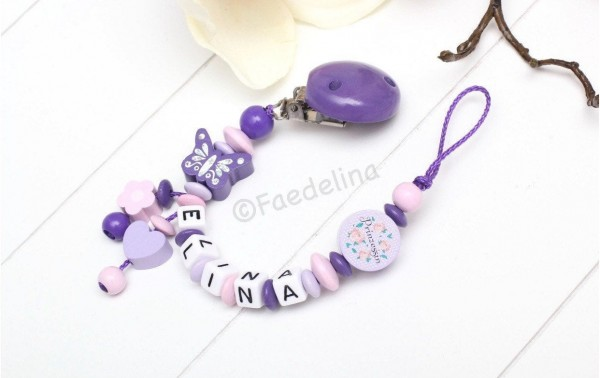 Schnullerkette mit Namen lila/flieder/rosa Prinzessin Baby Mädchen