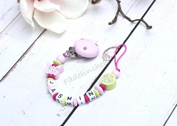 Schnullerkette Schmetterling rosa/pink/lemon Mädchen