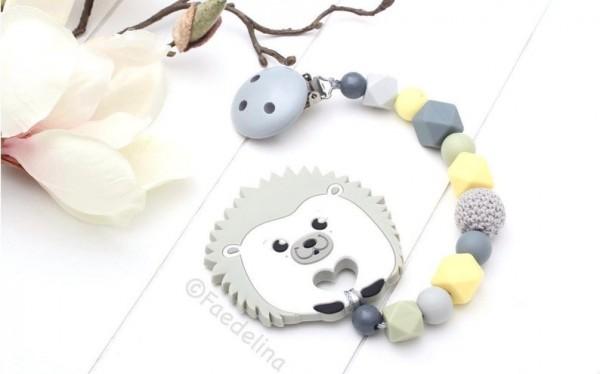 Beisskette Igel Silikon Zahnungshilfe grau/gelb/olive Baby Junge Mädchen Häkelperlen