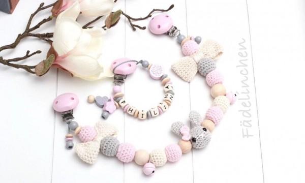 Wagenkette & Schnullerkette Hase Mädchen rosa/natur (auch einzeln)