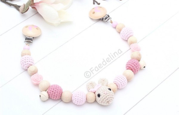 Wagenkette Hase rosa/altrosa Häkelperlen Silikon Rosen Baby Mädchen Geschenkidee