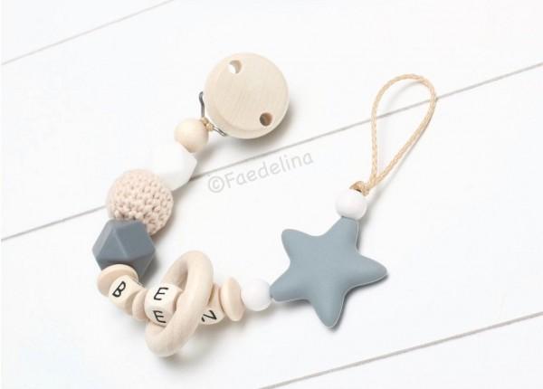 Schnullerkette mit Namen Baby Junge grau/Natur/weiß Mädchen Stern Häkelperle Geschenkidee