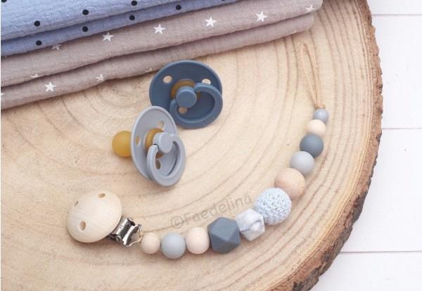 Schnullerkette Schnullerhalter grau/blau/Marble Baby Junge Geschenkidee (ohne Deko)
