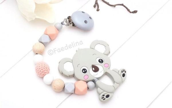 Beisskette Zahnungshilfe Silikon Koala grau/apricot Häkelperlen Baby Mädchen