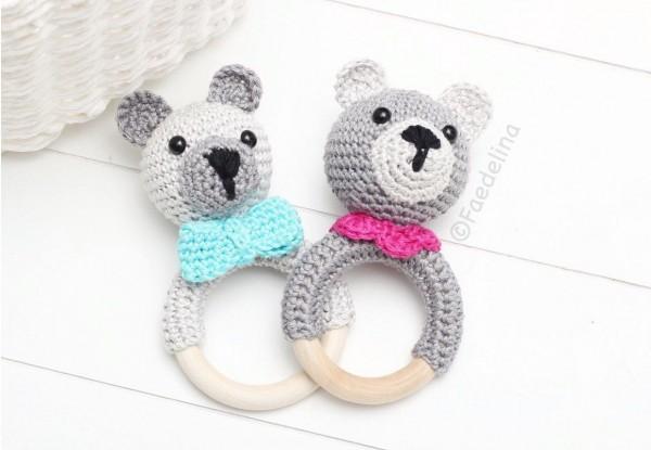 Bärenrassel Bär Rassel Greifring Häkelbär Baby Mädchen Junge Geschenkidee gehäkelt (Modellauswahl)
