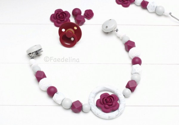 Wagenkette Kinderwagenkette Baby Mädchen Beere Marble Marmor Silikonperlen Rosen Geschenkidee (ohne
