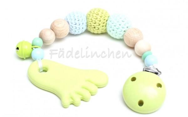 Beisskette Silikon Zahnungshilfe Fuß Baby lemon/mint
