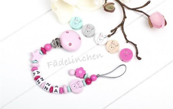 Schnullerkette mit Namen rosa/pink Hase Baby Mädchen