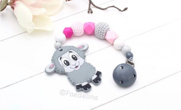 Beisskette Zahnungshilfe Silikonperlen Schaf Baby Mädchen grau/pink Geschenkidee