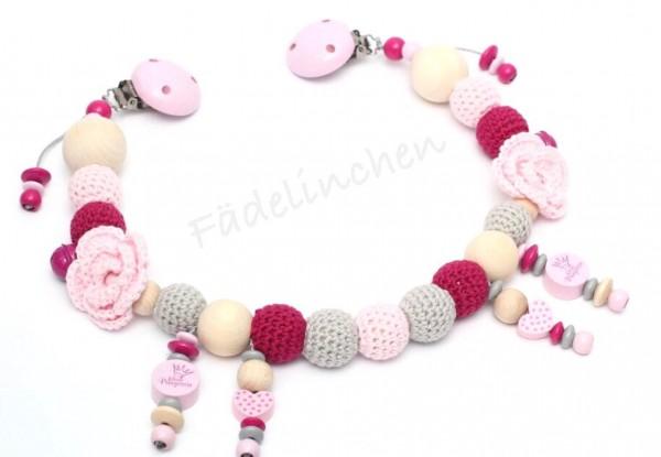 Wagenkette Rose grau/rosa Baby Mädchen Häkelperlen