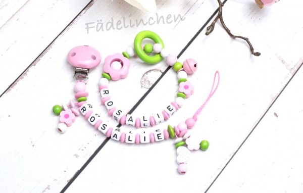 Schnullerkette & Greifring Set Blumen rosa/grün Mädchen