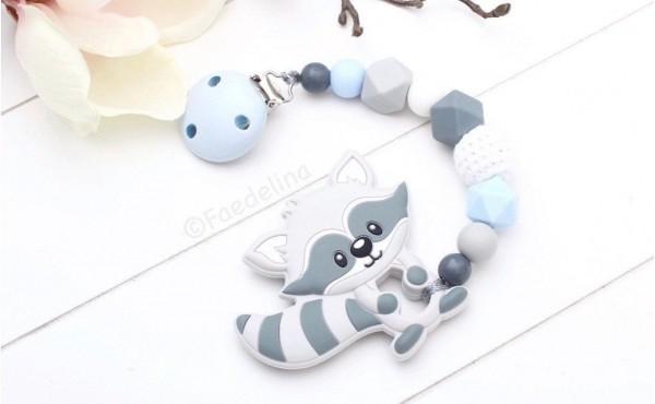 Beisskette Zahnungshilfe Silikonperlen Waschbär Baby Junge grau/blau Geschenkidee