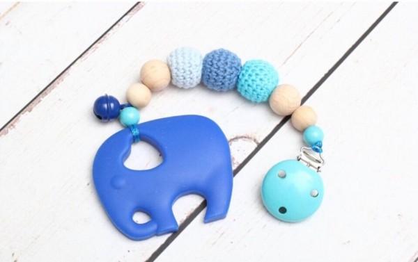 Beisskette Silikon Zahnungskette Elefant blau Junge Häkelperlen