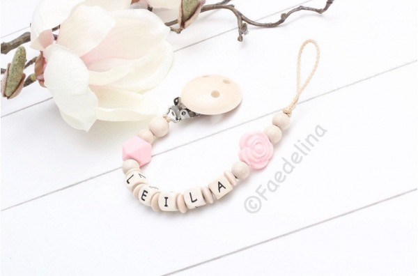 Schnullerkette mit Namen Rose Silikon rosa/natur Baby Mädchen