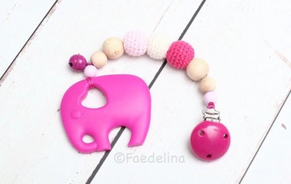 Beisskette Zahnungshilfe Silikon Elefant pink Baby Mädchen