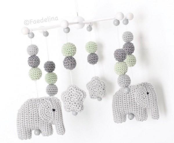 Mobile Elefant Sterne Baby Mädchen Junge Grau/Mint Kinderzimmer Deko Geschenkidee gehäkelt