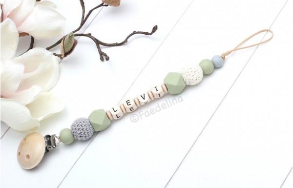 Schnullerkette mit Namen olive/natur Holz Buchstaben Silikonperlen Häkelperlen Baby Junge
