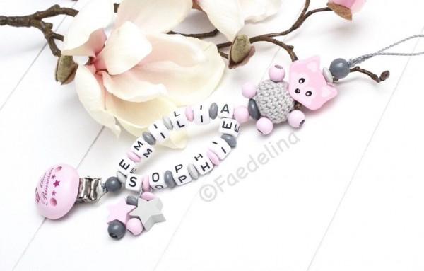 Schnullerkette mit Doppelnamen Baby Mädchen rosa/grau 3D Fuchs Sterne