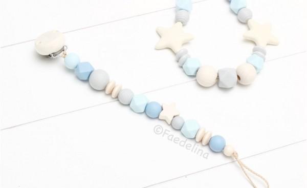 Schnullerkette blau/Natur/grau Baby Junge Geschenkidee Sterne Geburt