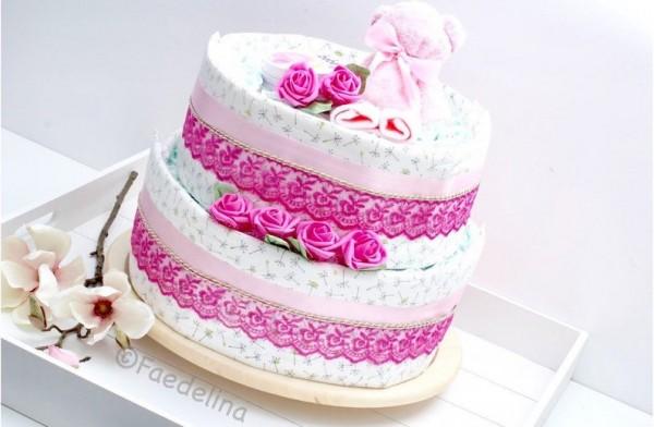 Windeltorte Pamperstorte Geschenkidee Babyparty Baby Mädchen rosa/pink