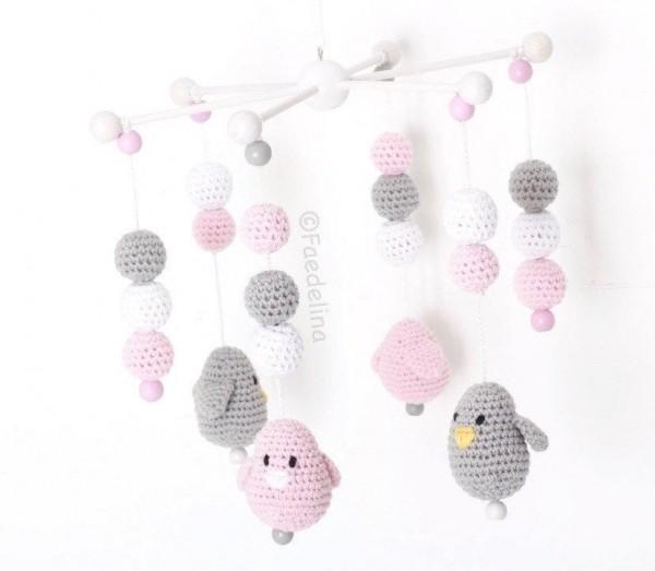 Baby Mobile Vögel rosa/grau/weiss Mädchen Kinderzimmer Dekoration Accessoires