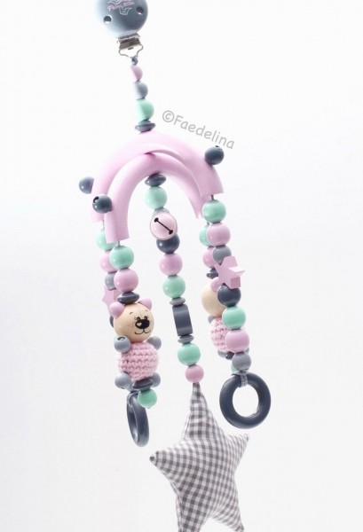 Baby Mobile Mädchen rosa/mint/grau 3D Bär Stoffstern Prinzessin