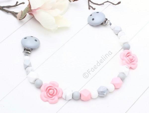 Wagenkette Rosen Marble Marmor grau/weiss Baby Mädchen Silikonperlen rosa
