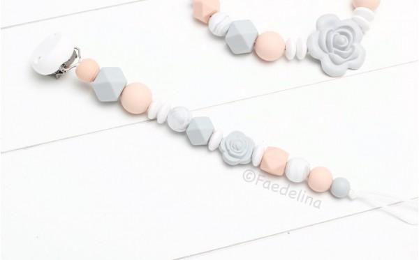 Schnullerkette Rosé Grau/Apricot Baby Mädchen Silikonperlen Hexagon Geschenkidee