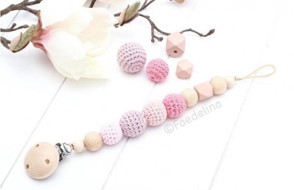 Schnullerkette Schnullerhalter Holz Häkelperlen Baby Mädchen natur/rosa Geschenkidee
