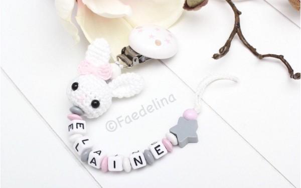 Schnullerkette mit Namen Häkelhase weiss/rosa/grau Baby Mädchen Geschenkidee