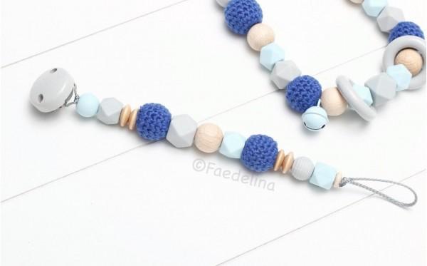 Schnullerkette Baby Junge blau/Natur/grau Häkelperlen Silkonperlen Geschenkidee Geburt