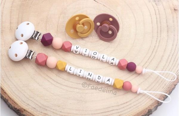 Schnullerkette mit Namen Hexagon Silikonperlen Holz Buchstaben Baby Mädchen rost/Senfgelb (Modellaus