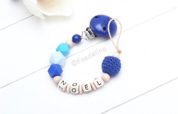 Schnullerkette mit Namen blau/türkis Naturholz Baby Junge Häkelperlen Silikonperlen Hexagon