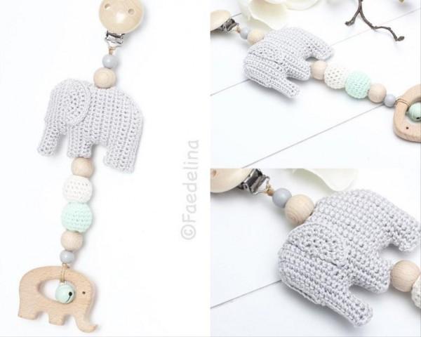 Babyschalen Anhänger Elefant Baby Junge Mädchen Häkelperlen Maxicosi Spielkette