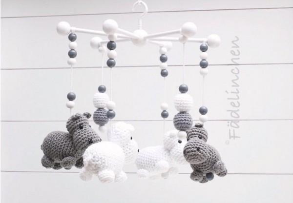 Baby Mobile Mobilestern Häkelperlen Nilpferde Baby Mädchen Junge grau/weiss