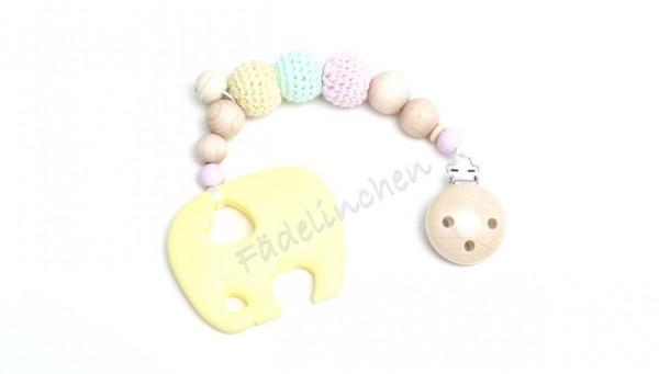 Beisskette Zahnungshilfe Silikon Elefant gelb/rosa