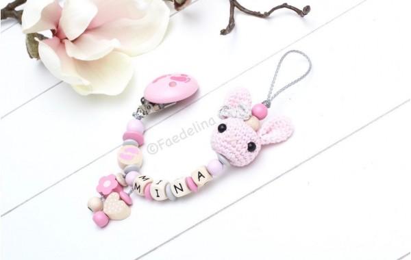 Schnullerkette mit Namen Häkelhase Füßchen rosa/grau/natur Baby Mädchen