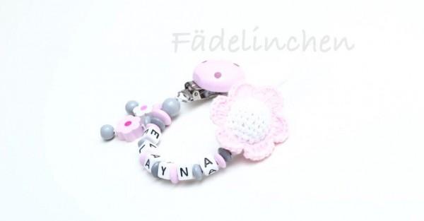 Schnullerkette Blume rosa/weiss Baby Mädchen