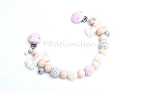 Wagenkette Schleife Häkelperlen rosa/natur Baby Mädchen