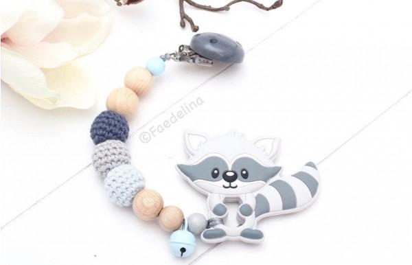 Beisskette Silikon Waschbär Baby Junge Häkelperlen grau/blau