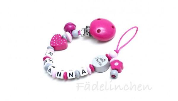 Schnullerkette mit Namen pink/grau Herz Baby Mädchen